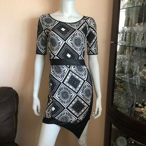 Black & White Faux Leather Detail Tribal Dress